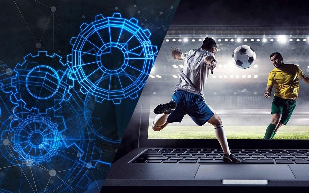 Ноутбук и футбольное состязание